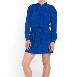 DVF Deandra Blue Black Silk Long Sleeve Dress